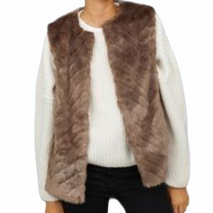 H&M Lined Beige Faux Fur Loop Closure Vest Size 4